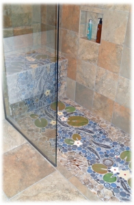 Trout Stream Waterfall ceramic tile shower LD 1